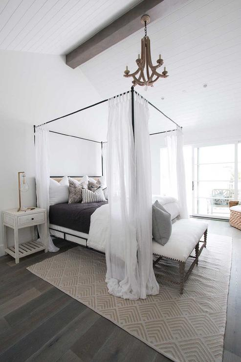 Gray Wash Wood Bed With Iron Canopy And White Cabriole