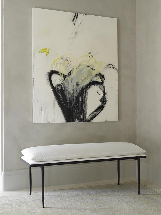 Black And White Bench With Yellow And Black Abstract Art