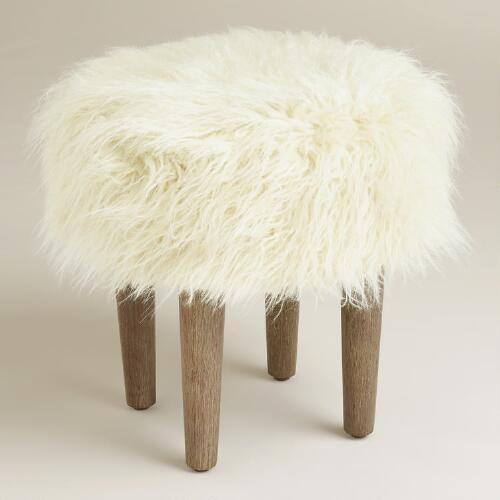 Threshold White Faux Fur Foot Stool