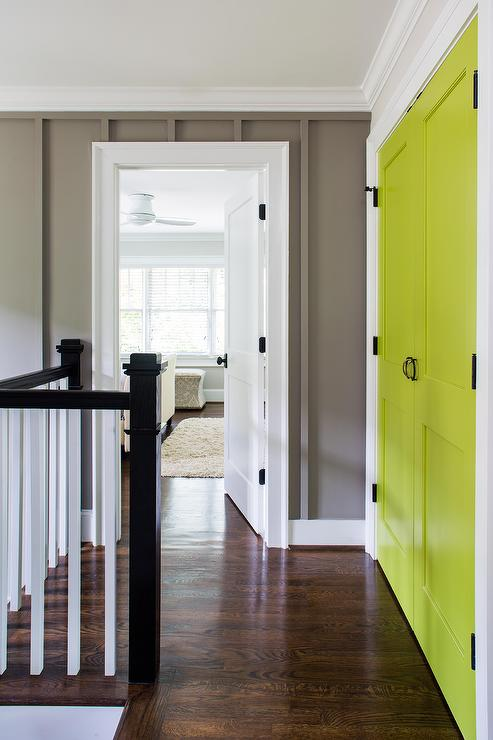 Gray Walls With Yellow Doors Contemporary Entrance Foyer