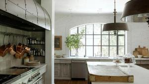 Cooking Nook With Over The Stove Pot And Pan Rack French