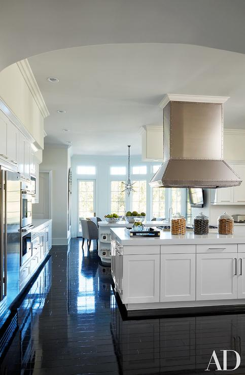 White Kitchen With Glossy Black Floors Transitional