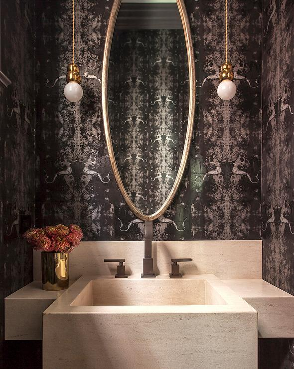 Black And White Powder Room Wallpaper With Cream Stone
