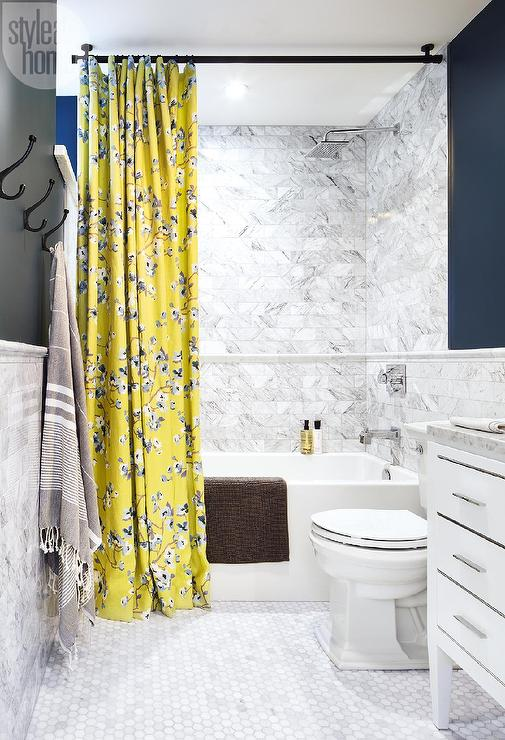 Yellow Shower Navy Curtain And