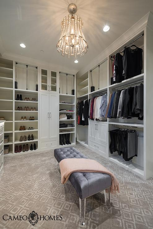 Light Gray Closet Island With White Metallic Cowhide Rug