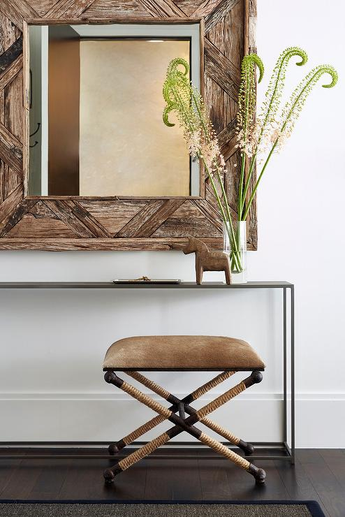 Rustic Foyer With Square Reclaimed Wood Mirror And Rope X