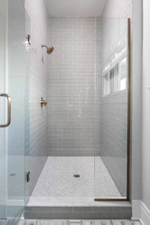Walk In Shower With Gray Glass Subway Tiles And White
