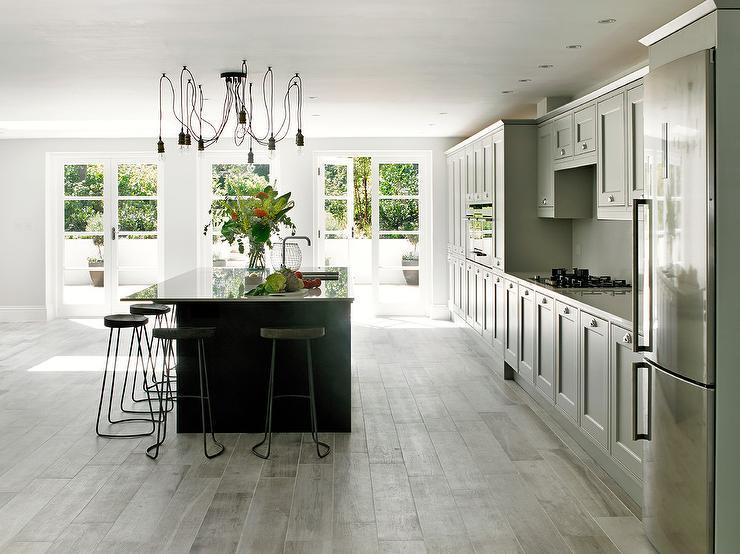 Light Grey Kitchen Island Contemporary Kitchen Mark