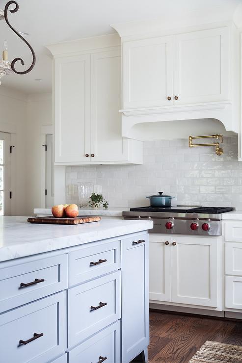 White Glazed Kitchen Tiles With Brass Swing Arm Pot Filler