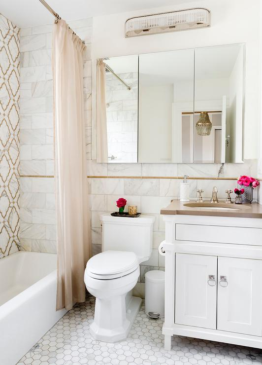 Gray And Brown Bathroom With Moroccan Trellis Inset Tiles