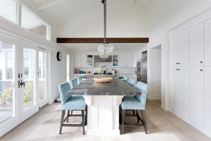 Clear Glass Schoolhouse Pendants With Black Marble Top