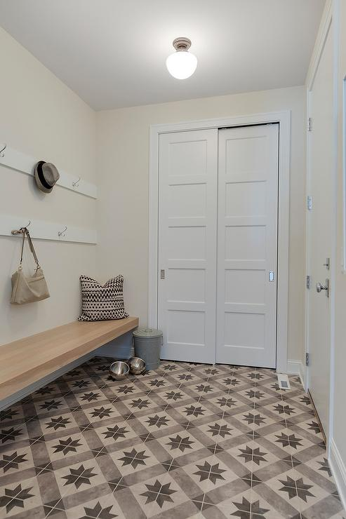 Wooden Floating Mudroom Bench Cottage Laundry Room