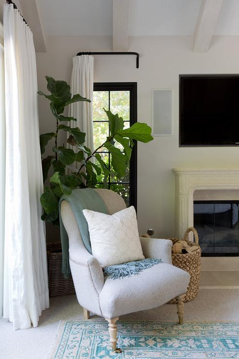Blue And Cream Accent Chairs