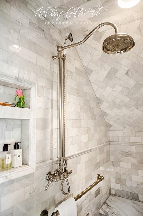 Marble Walk In Shower With Towel Bar Transitional Bathroom