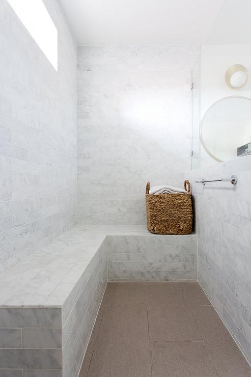 Marble Tiled Shower Bench Under Window Transitional
