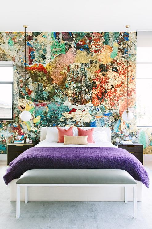 Paint Splatter Accent Wall Contemporary Bedroom