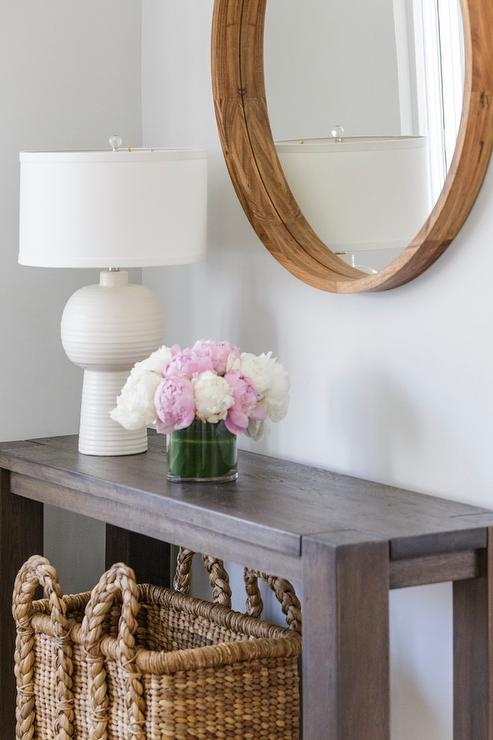 Brown Console Table With White Lamp Transitional