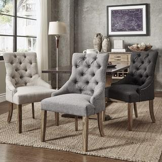 Daphne Beige Linen Dining Chair Overstock Com