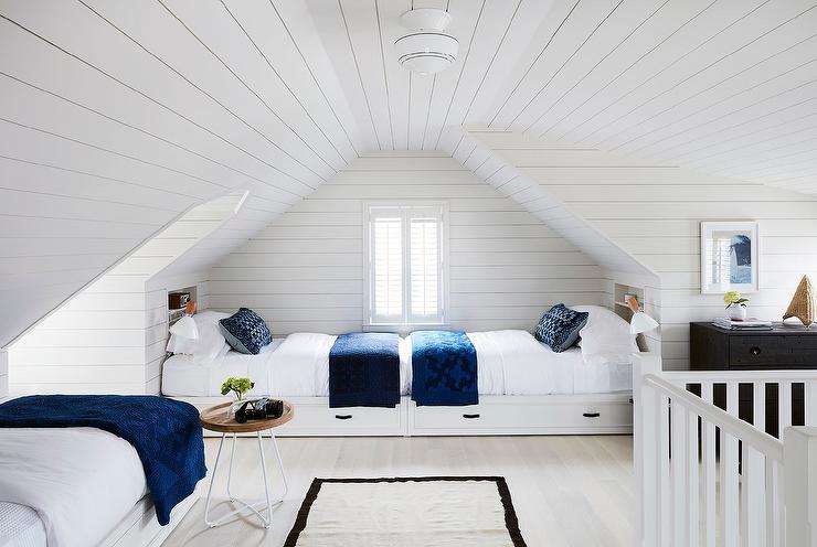 Light Gray Shiplap Built In Beds Cottage Girl S Room
