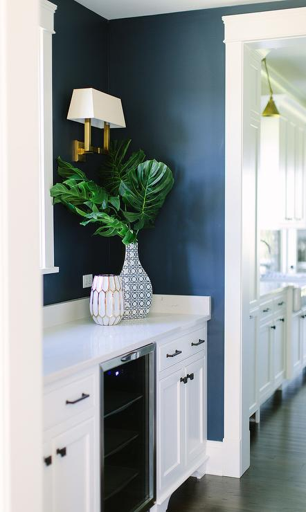 Brown Kitchen Cabinets With Blue Walls Transitional