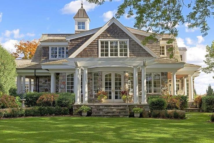 Traditional 2 Story Classical Stone Front Porch House | 2 Story House With Stairs Outside | Dark Grey | Traditional | Roof Terrace | Unique | Covered Deck