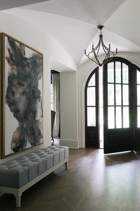 Foyer With Grey Grasscloth And Board And Batten