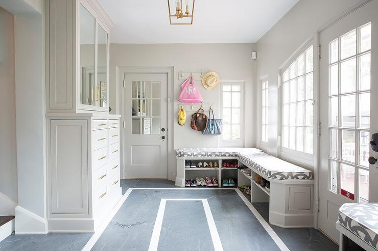 Long And Narrow Home Office With Gray Bi Fold Doors