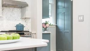 Blue Gray Kitchen Cabinets Contemporary Kitchen