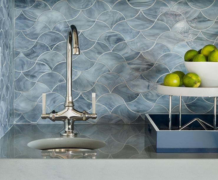 Blue Marble Wave Patten Backsplash Tiles Transitional