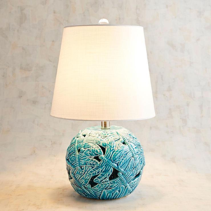 Romano Blue Ceramic Round Table Lamp