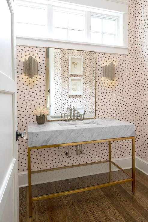 Marble And Brass Washstand With Silver Leaf Sconces