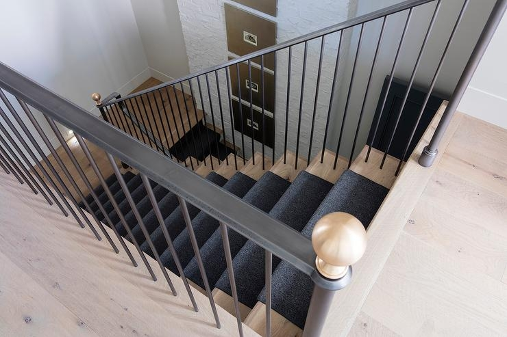 White Staircase Spindles Design Ideas | Black Banister White Spindles | Black Railing | Wainscoting | White Painted Riser | Benjamin Moore Stair Railing | Baluster Curved Stylish Overview Stair