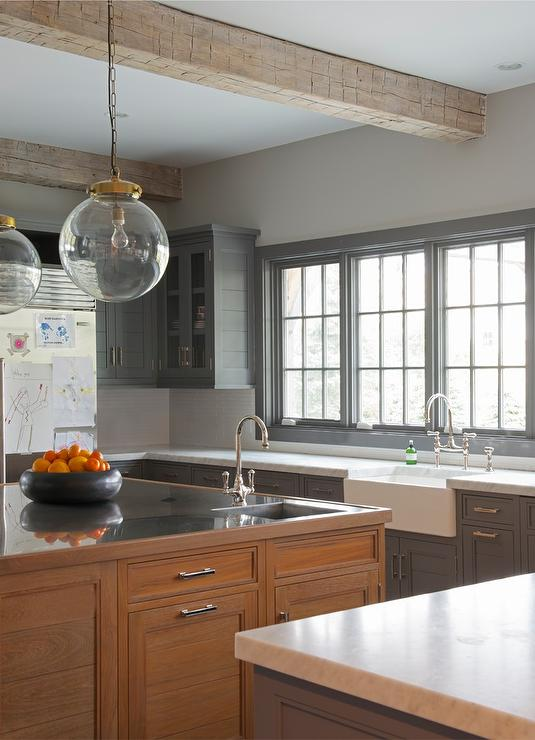 Charcoal Gray Cabinets With Brown Red Stained Island