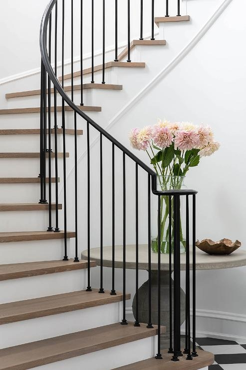 Wrought Iron Spindles On Winding Staircase Transitional | Wrought Iron Staircase Spindles | Basement Stair | Rot Iron | Outdoor | Wooden French Country Newel Post | Foyer