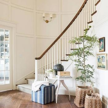 Curved Staircase With Round Accent Table Transitional Entrance   Round Staircase Designs Interior   Classic   Wooden   Elegant   Showroom   Round Shape Round