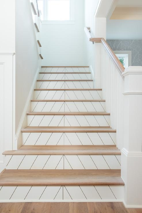 White Chevron Pattern Tiles On Staircase Risers Transitional | Wood Steps With White Risers | Timber | Wood Stair | Before And After | Color | Stair Tread