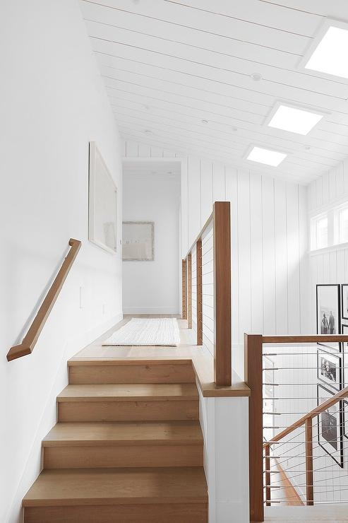 Wooden Staircase With Wood And Wire Railing Cottage Entrance Foyer | Wood And Wire Stair Railing | Before And After | Coastal | Natural Wood | Residential | Utility Panel