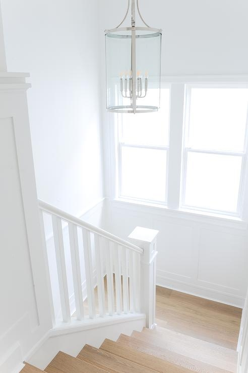Round And Glass Lantern In White Staircase Transitional | White Oak Handrail Round | Flooring | Wood Handrail | Foyer | Mopstick | Staircase