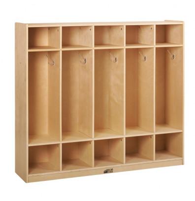 ECR4Kids Birch 5-Section Cubby Coat Locker
