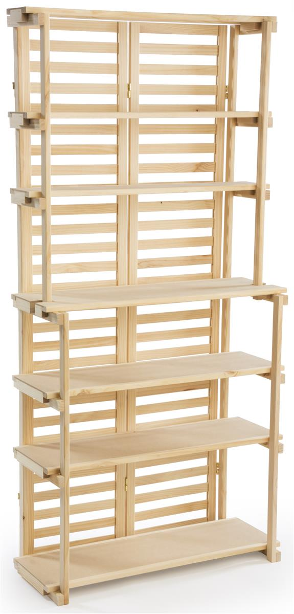 Wooden Bakers Rack Natural Pine Display With 6 Shelves