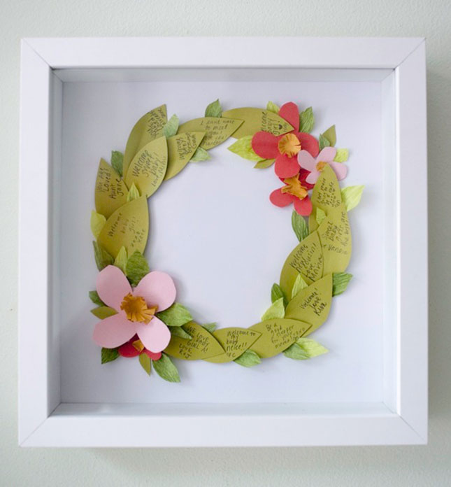 Cute and Creative Shadow Box Ideas Floral wreath guestbook shadow box