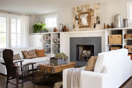 50 Fireplace Makeovers For The Changing Seasons and Holidays Sheet music fireplace wall decor idea