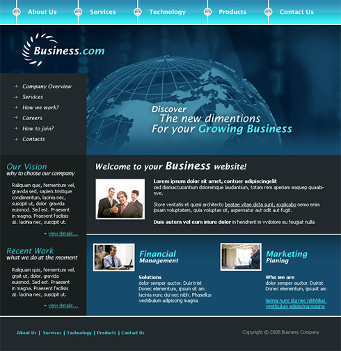 Blue Globe Web Template 3224 Business Website