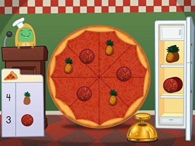 Free Online Preschool Games   Education com Preschool  Math  Game  Addition Pizza Party  1 10