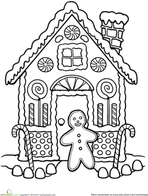 Gingerbread House Coloring | Worksheet | Education.com