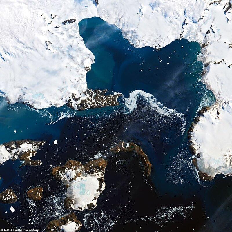 Антарктикадағы температура +18 температурада жылыну кезінде Антарктикалық аралдардың инелерінің қарлы қақпақтарын еріту +18