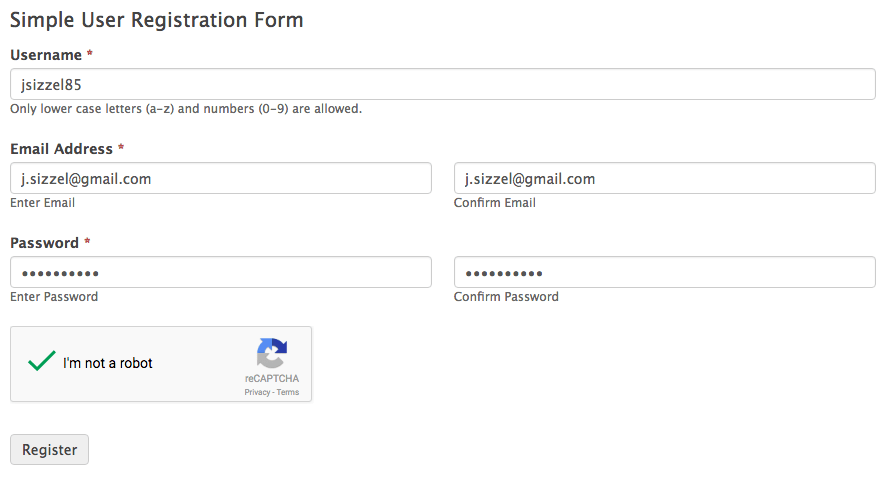 Simple Registration Form Template