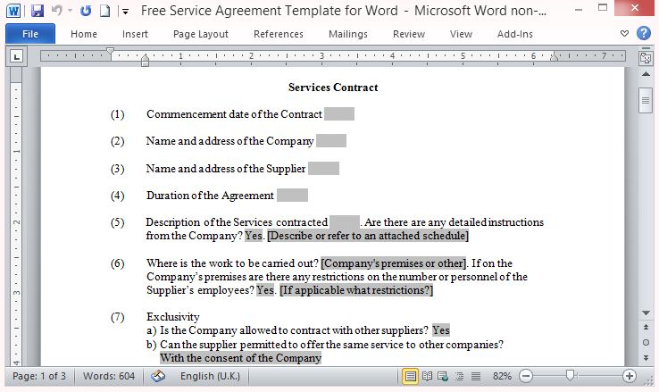 Free Contracts Services Template Word