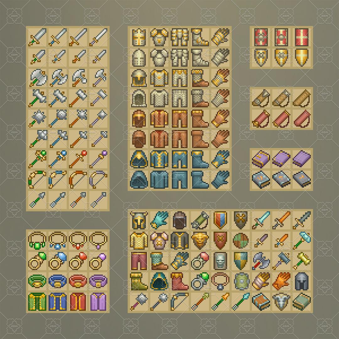 Pixel Art Inventory Icons 16 215 16 Gamedev Market