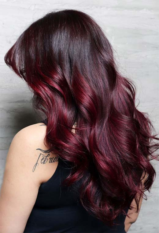 Rich Color Burgundy Hair